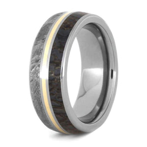 DINOSAUR BONE AND METEORITE WEDDING BAND WITH YELLOW GOLD-3585 - Cairo Men's Wedding Rings