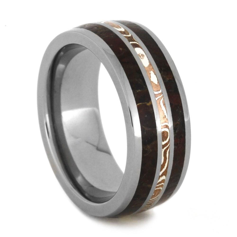 TITANIUM DINO BONE RING WITH COPPER AND SILVER MOKUME-2020 - Cairo Men's Wedding Rings