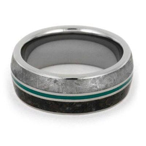 DINOSAUR BONE RING WITH METEORITE AND TURQUOISE ENAMEL-1845 - Cairo Men's Wedding Rings