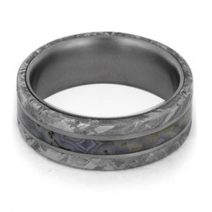 DINOSAUR BONE TITANIUM RING WITH METEORITE-1855 - Cairo Men's Wedding Rings