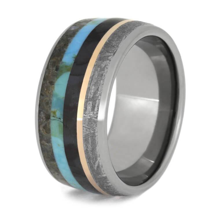 DINOSAUR BONE RING WITH METEORITE, TURQUOISE, AND ROSE GOLD-2594 - Cairo Men's Wedding Rings