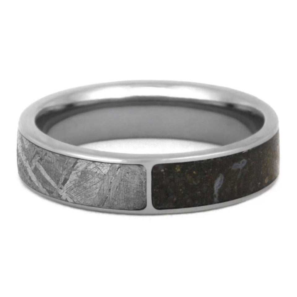 DINOSAUR BONE TITANIUM RING WITH DOUBLE METEORITE-3340 - Cairo Men's Wedding Rings