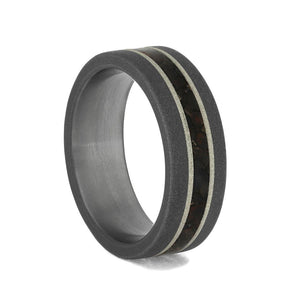DINOSAUR BONE TITANIUM RING WITH SILVER-4090 - Cairo Men's Wedding Rings
