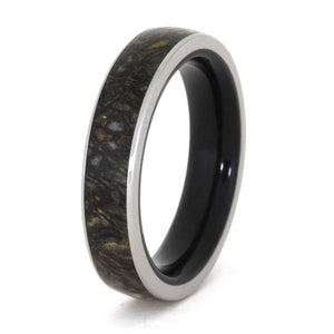 DINOSAUR BONE RING WITH TITANIUM WOOD SLEEVE-3293 - Cairo Men's Wedding Rings