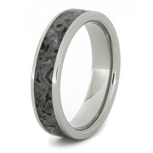 DINOSAUR BONE WEDDING BAND IN TITANIUM-2456 - Cairo Men's Wedding Rings
