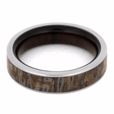 DINOSAUR BONE TITANIUM WEDDING BAND WITH MACASSAR EBONY WOOD-2151 - Cairo Men's Wedding Rings