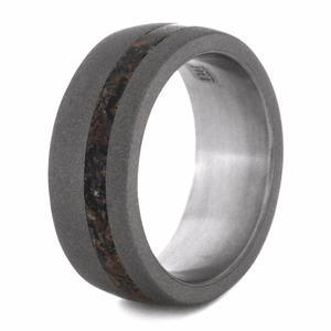 DINOSAUR BONE WEDDING BAND WITH SANDBLASTED TITANIUM-2165 - Cairo Men's Wedding Rings