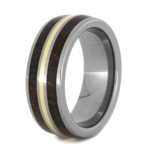 DINOSAUR BONE TITANIUM WEDDING BAND WITH YELLLOW GOLD-2777 - Cairo Men's Wedding Rings