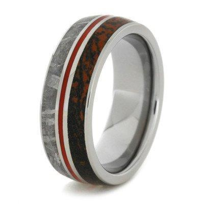DINOSAUR METEORITE TITANIUM RING WITH RED ENAMEL-1758 - Cairo Men's Wedding Rings