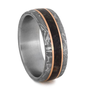 DINOSAUR BONE TITANIUM WEDDING BAND WITH ROSE GOLD AND METEORITE-2997 - Cairo Men's Wedding Rings