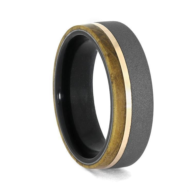EBONY WOOD RING WITH WHISKEY BARREL WOOD AND SANDBLASTED TITANIUM-3957 - Cairo Men's Wedding Rings