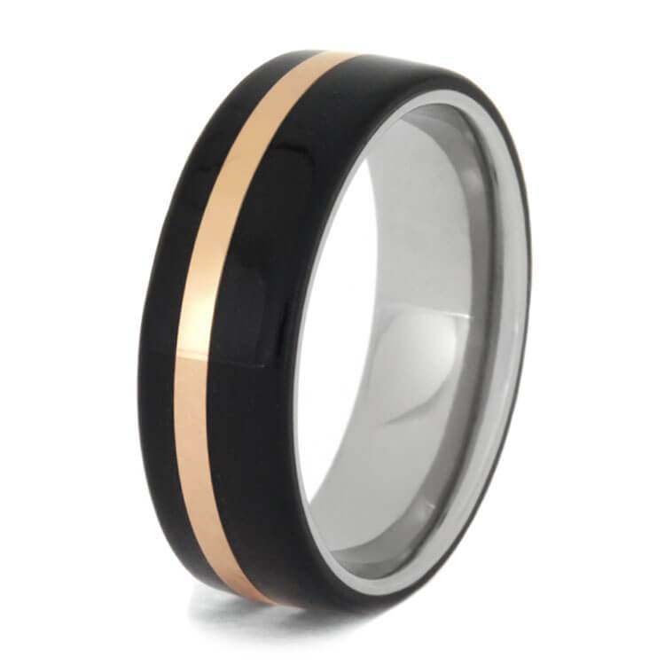 EBONY WOOD TITANIUM WEDDING BAND-2740 - Cairo Men's Wedding Rings