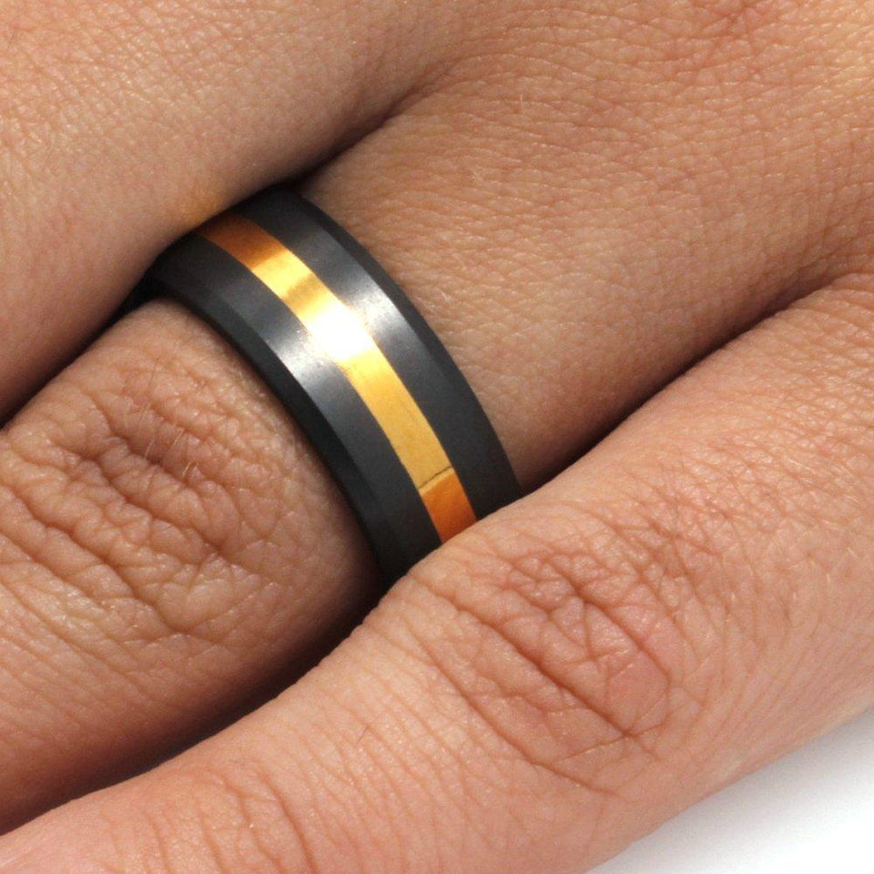 DIAMOND RING WITH 24k YELLOW GOLD STRIPE-ELY-E8B12 - Cairo Men's Wedding Rings