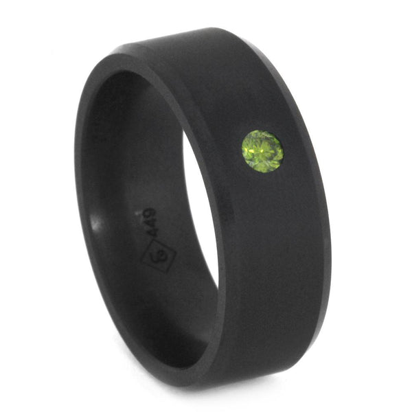 ELYSIUM RING WITH GREEN DIAMOND BEVELED WITH MATTE-ELY-E8BDIA.10 - Cairo Men's Wedding Rings
