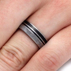 ENAMEL RING WITH DINOSAUR BONE, TITANIUM AND METEORITE-2161 - Cairo Men's Wedding Rings