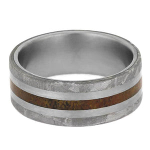 EXOTIC DINOSAUR BONE WEDDING BAND WITH TITANIUM AND METEORITE-2403 - Cairo Men's Wedding Rings