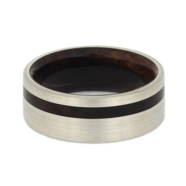 BRUSHED 14k WHITE GOLD BAND WITH HONDURAN ROSEWOOD-2741 - Cairo Men's Wedding Rings