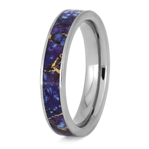 Lava Mosaic Turquoise Ring, Titanium Wedding Band With Unique Stone Inlay-3894