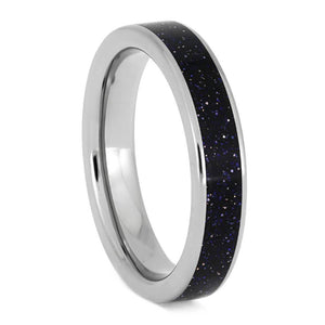 Blue Goldstone Ring, Sparkling Black Wedding Band In Titanium-3901
