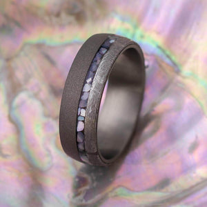 Mother of Pearl Wedding Band with Gibeon Meteorite-4343