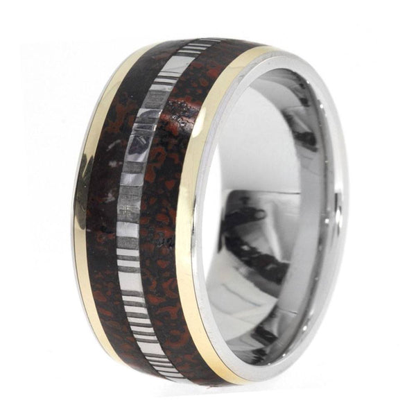 PLATINUM RING WITH DAMASCUS DINOSAUR BONE AND YELLOW GOLD-1539