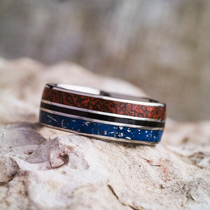 FOSSIL METEORITE RING, BLUE STARDUST WEDDING BAND WITH ENAMEL-2606 - Cairo Men's Wedding Rings