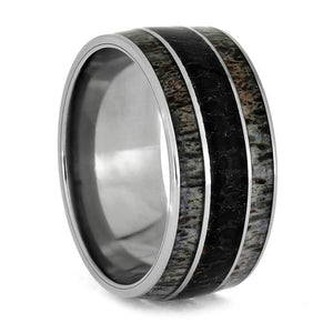 FOSSIL TITANIUM RING WITH DEER ANTLER, DINOSAUR BONE-2734 - Cairo Men's Wedding Rings
