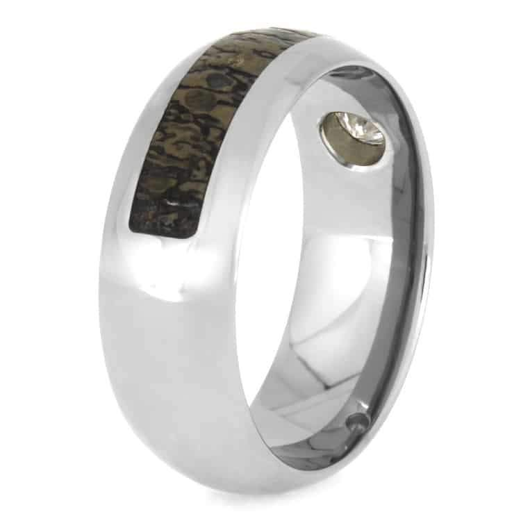 FOSSIL WEDDING BAND, TITANIUM RING WITH MOISSANITE AND  DINOSAUR BONE-2645 - Cairo Men's Wedding Rings