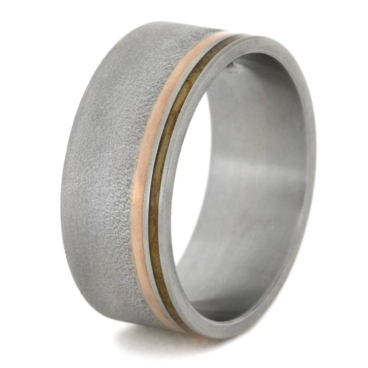 FROSTED TITANIUM RING WITH WOOD FLUSH DIAMOND-1695 - Cairo Men's Wedding Rings