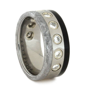 WEDDING BAND WITH METEORITE AND AFRICAN BLACKWOOD-2909 - Cairo Men's Wedding Rings