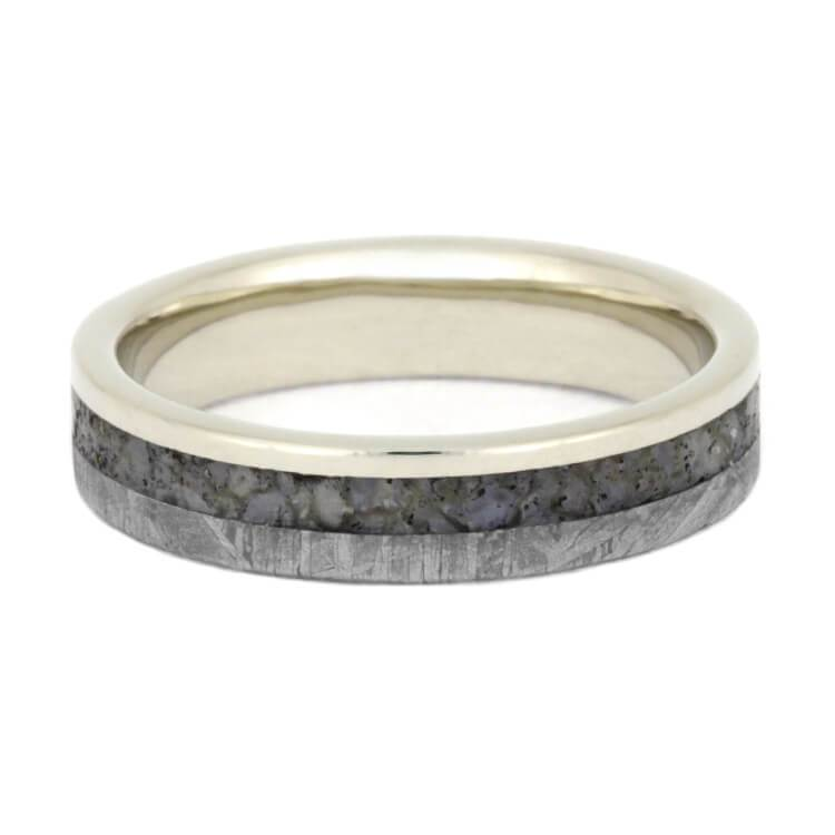 WHITE GOLD METEORITE AND DINOSAUR BONE WEDDING BAND-2580 - Cairo Men's Wedding Rings