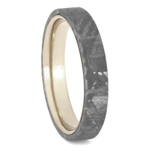 GIBEON METEORITE WEDDING BAND WITH WHITE GOLD SLEEVE-2443 - Cairo Men's Wedding Rings