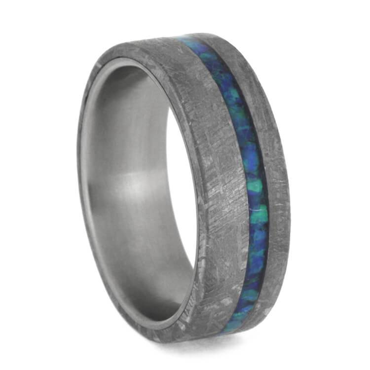 GIBEON METEORITE WEDDING BAND WITH CRUSHED OPAL STRIP-2488 - Cairo Men's Wedding Rings