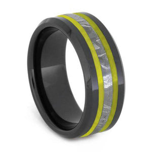 GIBEON METEORITE WEDDING BAND WITH YELLOW BEVELED ENAMEL-2629 - Cairo Men's Wedding Rings