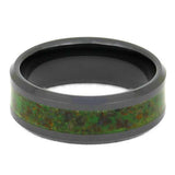 GLOW IN THE DARK DINOSAUR BONE RING, BLACK CERAMIC WEDDING BAND-4038 - Cairo Men's Wedding Rings