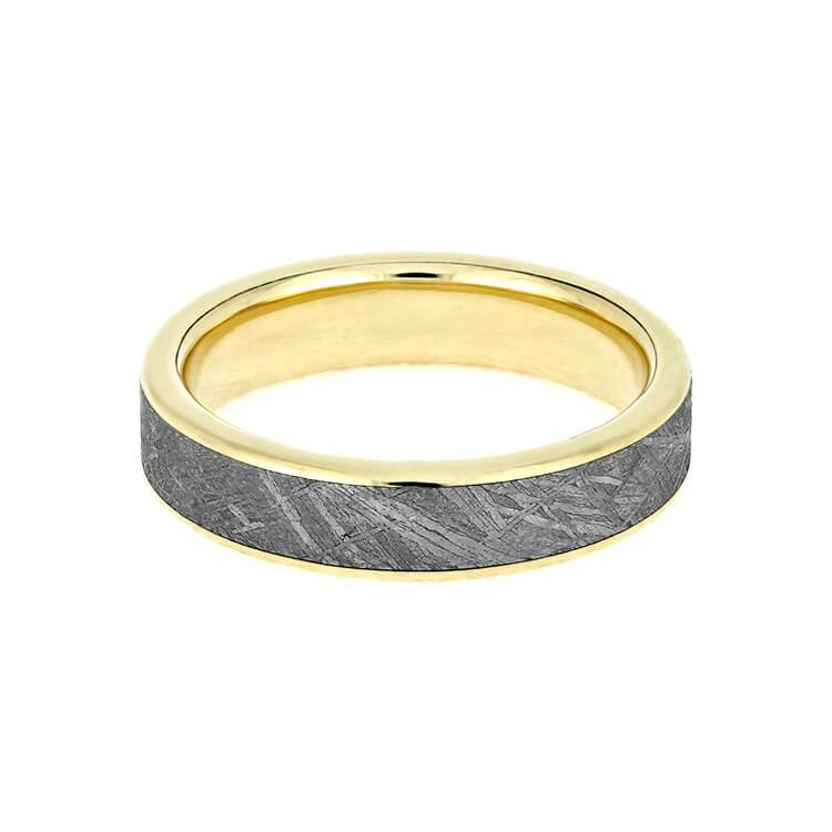 METEORITE WEDDING BAND, 14K YELLOW GOLD RING-2438 - Cairo Men's Wedding Rings