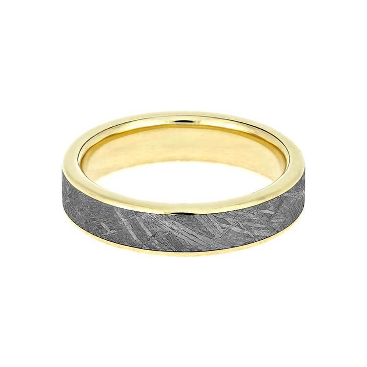 YELLOW GOLD METEORITE WEDDING BAND-3628 - Cairo Men's Wedding Rings