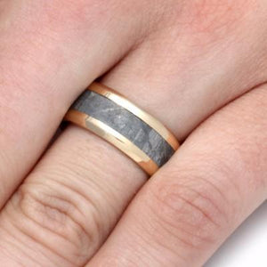 GOLD MENS BEVELED WEDDING BAND WITH METEORITE-2237 - Cairo Men's Wedding Rings