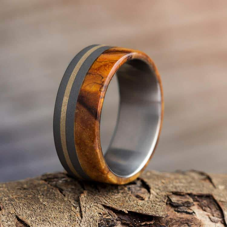 GOLD RING IN SANDBLASTED TITANIUM AND BLACK ASH BURL-1060 - Cairo Men's Wedding Rings