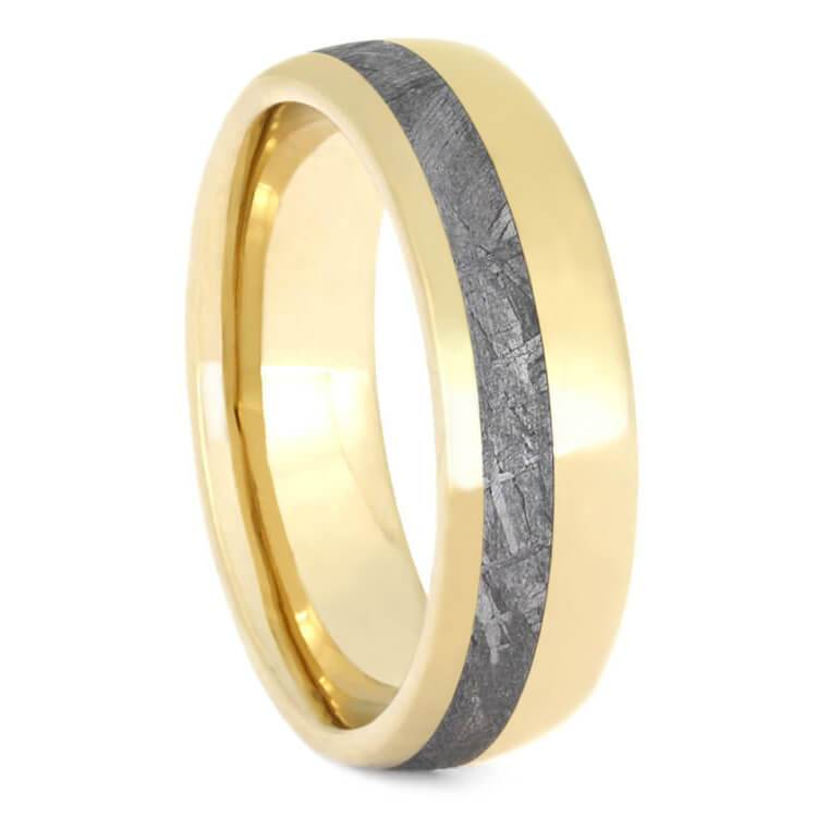 GOLD RING, METEORITE BAND WITH YELLOW GOLD-2638 - Cairo Men's Wedding Rings