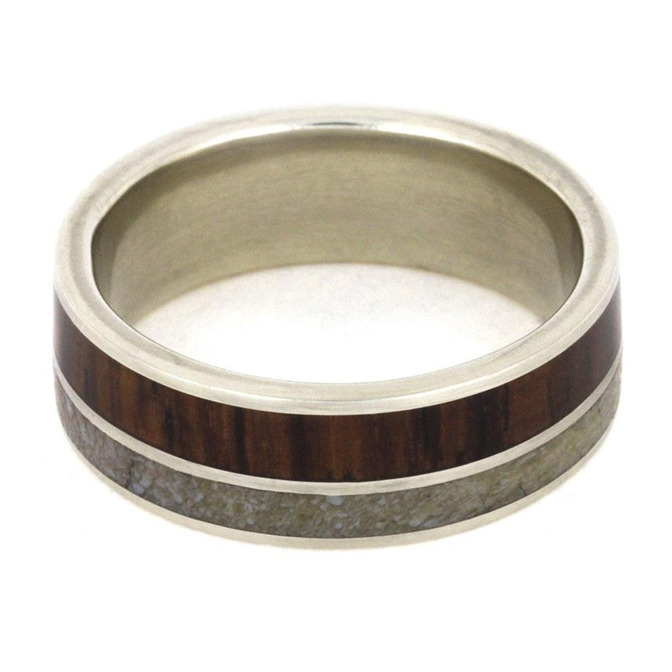 WHITE GOLD RING WITH DINOSAUR & ROSEWOOD-2018 - Cairo Men's Wedding Rings