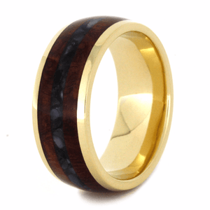 WEDDING BAND WITH CRUSHED BLACK PEARL AND AMBOYNA-2205 - Cairo Men's Wedding Rings