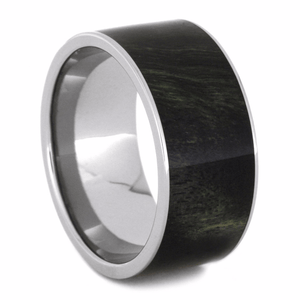 GREEN AND BLACK POPLAR WOOD TITANIUM RING-2162 - Cairo Men's Wedding Rings