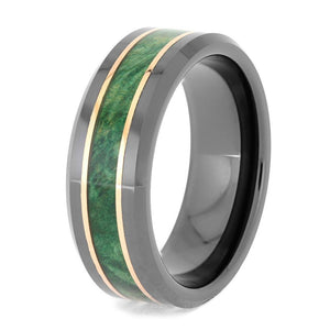 GREEN BOX ELDER BURL AND BLACK CERAMIC RING WITH COPPER-4081 - Cairo Men's Wedding Rings