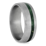 GREEN BOX ELDER BURL RING WITH BRUSHED TITANIUM-4232 - Cairo Men's Wedding Rings