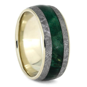 GREEN BOX ELDER BURL RING WITH WHITE GOLD METEORITE-3704 - Cairo Men's Wedding Rings