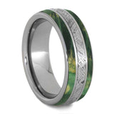 GREEN BOX ELDER WOOD WEDDING BAND WITH METEORITE-4243 - Cairo Men's Wedding Rings