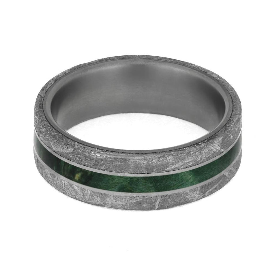 GREEN TITANIUM WOOD RING WITH METEORITE EDGES-4208 - Cairo Men's Wedding Rings