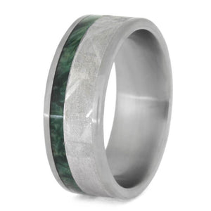 GREEN WOOD WEDDING BAND, METEORITE RING WITH BOX ELDER BURL-2449 - Cairo Men's Wedding Rings