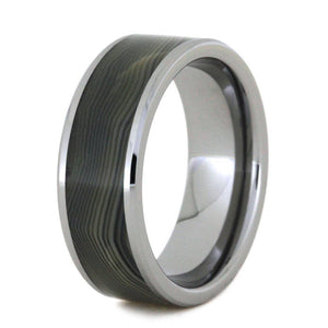 GREY BEVELED AGATE AND TUNGSTEN WEDDING BAND-2818 - Cairo Men's Wedding Rings